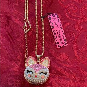 New Betsy Johnson Kitty Pendant and Necklace